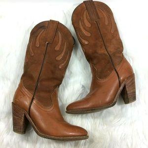 Vintage FRYE 7075 Heeled Boots Western Cowgirl 6